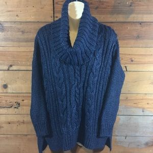 Jennifer Lopez Cowl Neck Knit Sweater Blue Medium
